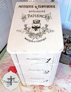 Painted Side Table with French Typography