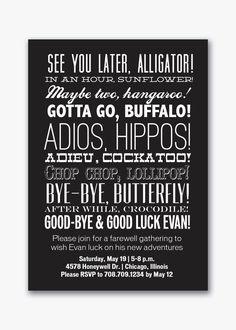 farewell party typography invitation custom by viavaciousdesigns, $20.00