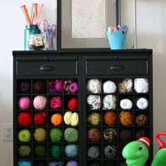 25 Totally Clever Storage and Organization Tips & Tricks, including this wine rack as yarn storage.