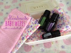 Handmade baby wipes with essential oils