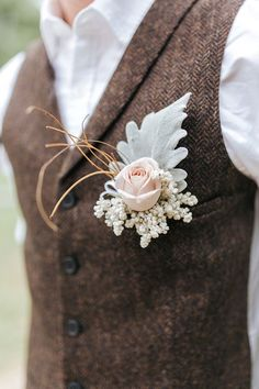 Groom wearing brown