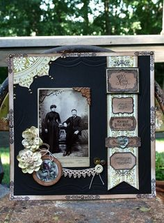 It's Your Day...a black background and dramatic, but simple, embellishments make the photo the star. Love the little circular photo (bottom left) and the ribbon border with interesting heritage sayings in a vintage typeface ~ what a great page!
