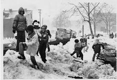 Students at the former Lafayette School, 815 Ann Avenue in Soulard, play on the piles of shoveled snow on Tuesday, Feb. 16, 1982, the first day on which classes resumed for St. Louis public school students. Almost all schools stayed closed for the week after the Jan. 30-31 storm, and suburban districts began returning over the second week. City school board members said they were afraid that children could be hurt on the high drifts and piles along sidewalks. They certainly would be playing on t