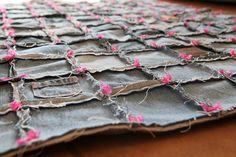 Old denim jeans turned into quilt. #DIY #craft