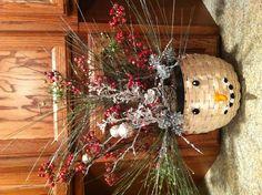 Snowman Basket with Floral arrangement