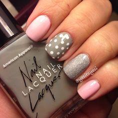 Grey  Pink nails  | See more at http://www.nailsss.com/colorful-nail-designs/2/