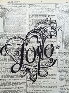 tattoo idea, love tattoo, love doodle, doodle tattoo, zentangle doodle, book pages, upcycl dictionari, dictionari art, dictionary art