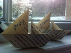 Name cards origami boats
