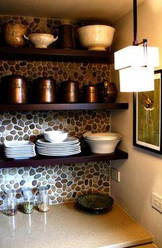 backsplash open shelves backsplash ideas rivers rocks pebble mosaic