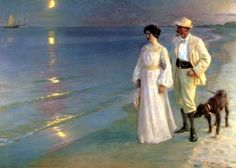 Peder Severin Kroyer. Norwegian/Danish. 1851 - 1909  Summer Evening on the Beach at Skagen
