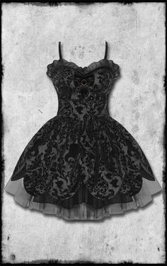 Stunning Limited Edition gothic/steampunk style prom/wedding dress by HELL BUNNY.    Gorgeous black gothic dress in deep black satin effect fabric with beautiful black velvetesque damask flocking, featuring ornate Victorian style pattern with infused skulls and tophats. The flatteringly fitted strapless bodice features a lightly padded bust and zip fastening, plus removable trailing black bow to the rear. The beautiful petal skirt is accentuated layers and layers of black mesh underneath whic...