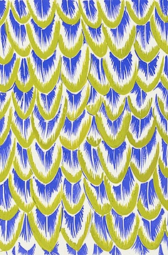 Textile Design, 'Feathers' from 'Birds of a Feather' Series; Green/Blue Colorway by Elza Sunderland, 1941