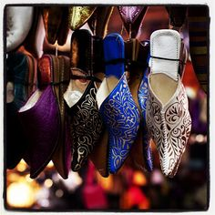 Shoe shopping at the Marrakech souk - the largest market in Morocco