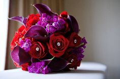 purple and red flowers.