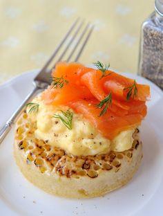 Smoked salmon and egg on crumpet