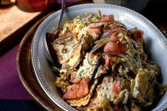 Recipe: Matzo, lox, eggs and onions || Photo: Andrew Scrivani for The New York Times