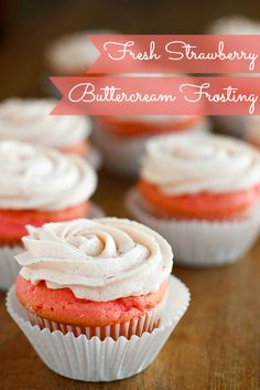 Fresh Strawberry Buttercream Frosting -- this fluffy and creamy strawberry buttercream frosting recipe uses fresh strawberry puree rather than processed strawberry syrup! Paired with pink velvet cupcakes here.