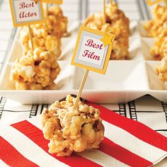 food recipes, foods, party menu, theme parties, popcorn balls, white chocolate, hollywood party, hollywood theme, oscar party
