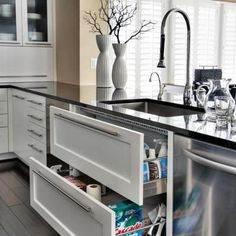 Kitchen sink drawers not cabinets...great idea!