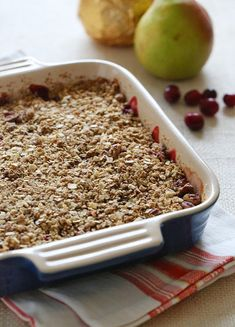 Sweet pears, tart cranberries and an oat-nut topping makes the perfect baked dessert for the Holidays!
