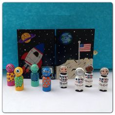 Small easy toys for a road trip.  The case helps keep the peg people contained and also doubles as a background for play.  Lots of themes in the shop including space, princess, superhero, and pirates.  In Stock: Space Themed Small Travel Case with 8 Peg People via Etsy