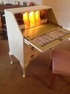 Vintage Shabby Chic Writing Bureau...lights