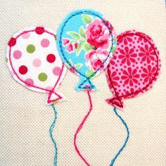 craft inspir, idea, quilt, birthdays, appliqué, textil, balloons, adult craft, balloon appliqu