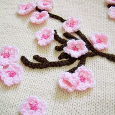 Cherry blossoms knit baby blanket