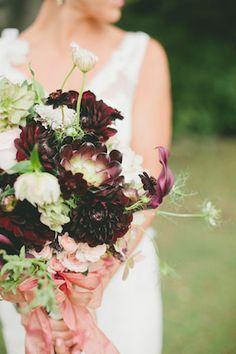 Dark purple bridal bouquet | Onelove Photography | see more on: http://burnettsboards.com/2014/03/fig-gold-wedding-coolest-bar/