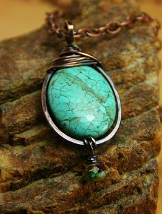Show Stopper  Copper Wire Wrapped Turquoise by AllowingArtDesigns, $38.00
