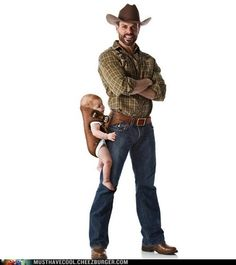 this man, halloween costumes, costume ideas, a real man, future babies, baby carriers, chuck norris, babysitting, kid