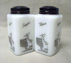 Vintage McKee Tipp Watering Can Lady Sugar Flour Shakers