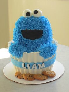 cookie monster in a chocolate cupcake shell