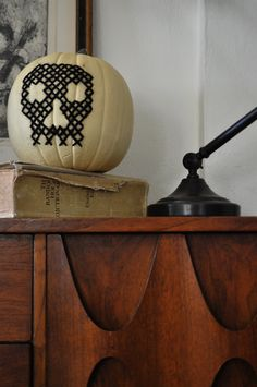 cross stitch on a FAKE pumpkin