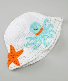 White Splash Crochet Bucket Hat