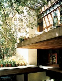 Exterior terrace - Family home of architect Ray Kappe at Pacific Palisades, CA 1967.