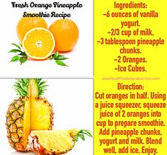 Orange Pineapple Smoothie Recipe-had this for breakfast this morning-good :)