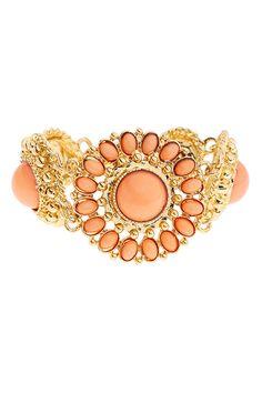 Beaded Floral Pendant Bracelet <3 Romwe.com