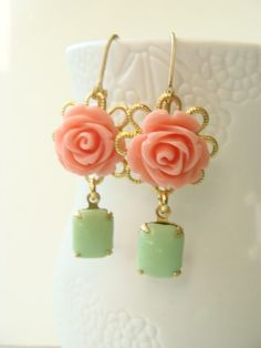 Vintage Coral and green earrings. adorable.