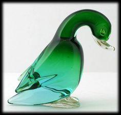 Murano Art Glass Duck Figurine Green and Gold Aventurine Paperweight Italian