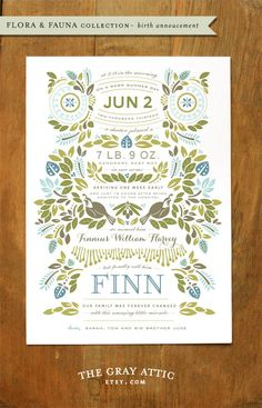 Beautiful letterpress birth announcement
