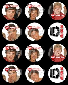 ONE DIRECTION 2.5 ROUND STICKERS