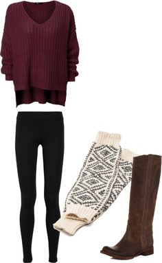 """Fall School Outfit"" by ericacampbell on Polyvore Replace the leggings with black skinnies and it's perfect!"