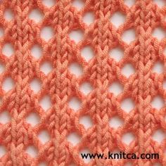 So Simple and So Lovely! Only two rows to learn for this pretty lace. Many knitting stitches on this site! lace knitting, knitting patterns, knit stitches, lace stitch, knitting tutorials, pretti lace, lace patterns, knit patterns, stitch patterns