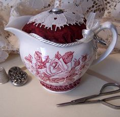 Meakin china pincushion/ pinkeep @ Gaffney Girl Studio