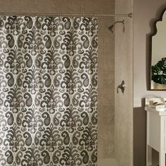 Love this Shower Curtain with ikat motif in pretty coffee colors.
