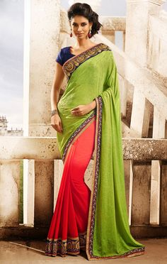 Cajoling Coral Red and Lime Green Saree