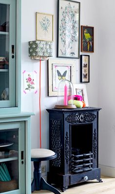 interior, galleri, color, fake fireplace