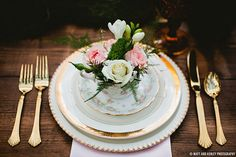 Vintage pink and gold place setting for wedding dinner.  Magical Alice In Wonderland Styled Shoot