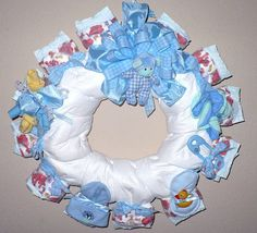 Diaper wreath in blue